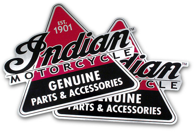 "Indian Motorcycle Set of 2 Metallic Genuine Parts 8"" Sticker Decals"