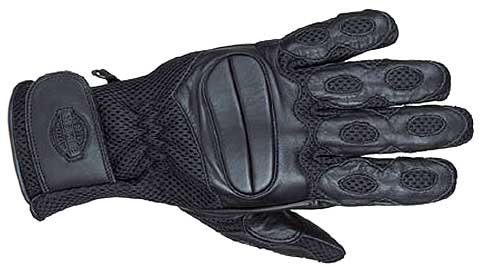 Leather Perforated Gloves w/Gel & Velcro Strap