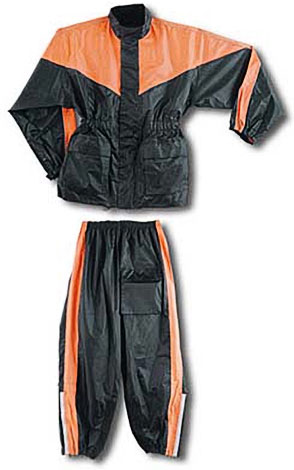 Two Piece Waterproof Motorcycle Rainsuit with Reflective Material and Duratex Patches - Orange
