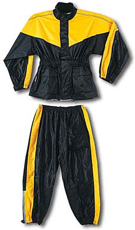 Two Piece Waterproof Motorcycle Rainsuit with Reflective Material and Duratex Patches - Yellow