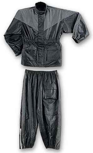 Two Piece Waterproof Motorcycle Rainsuit with Reflective Material and Duratex Patches - Grey