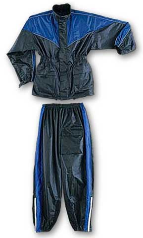 Two Piece Waterproof Motorcycle Rainsuit with Reflective Material and Duratex Patches - Blue