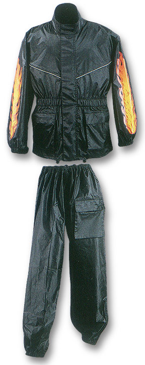 Two Piece Waterproof Motorcycle Rainsuit with Reflective Material Duratex Patches and Flames