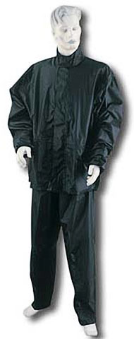 Two Piece Waterproof Motorcycle Rainsuit with Reflective Material and Duratex Patches - Black