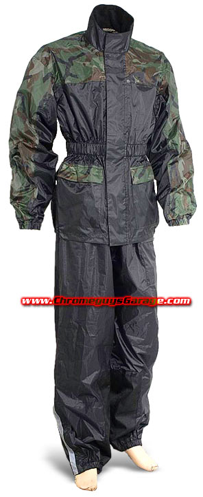 Two Piece Waterproof Camo Motorcycle ATV Dirt Bike Rainsuit with Duratex Patches