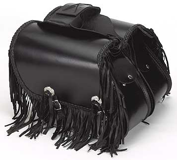 Slanted Quick-Release PVC Saddlebags with Fringe