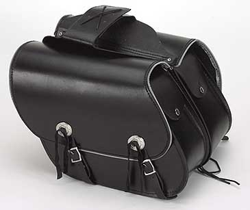 Slanted Leather Saddlebags with Reflective Trim
