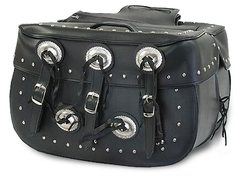 XLarge Quick-Release PVC Saddlebags with Concho's