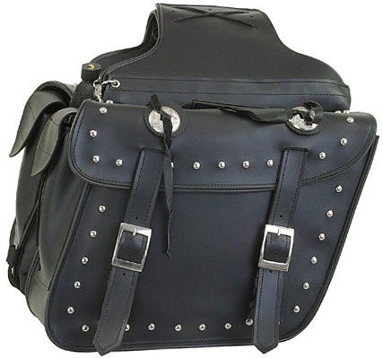 Saddlebags with Studs and Conchos Quick-Release Throwover Style Medium Size