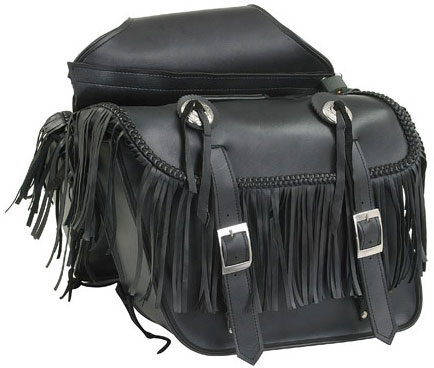 Quick-Release Throwover PVC Saddlebags with Fringe, Braid and Conchos