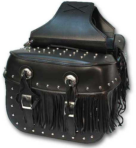 Large PVC Quick-Release Heritage Saddlebags with Studs & Fringe
