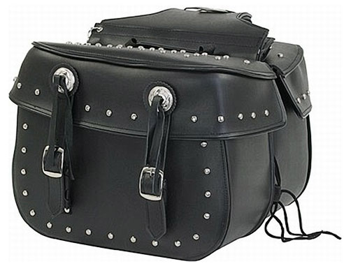 Large PVC Quick-Release Heritage Saddlebags with Studs