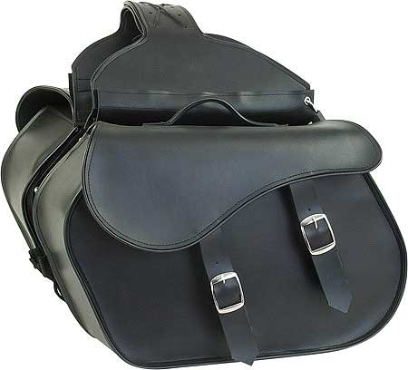 Large Slanted Quick-Release Plain Throwover PVC Saddlebags