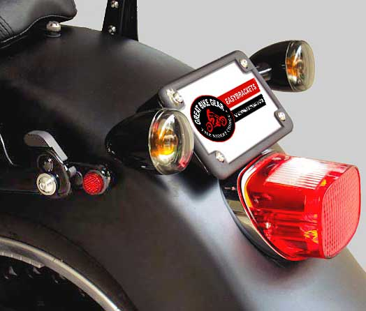 Turn Signal Relocation & License Plate Lay Down Kit Fatboy 2007-Newer FLSTF/FLSTFB Complete (Black)